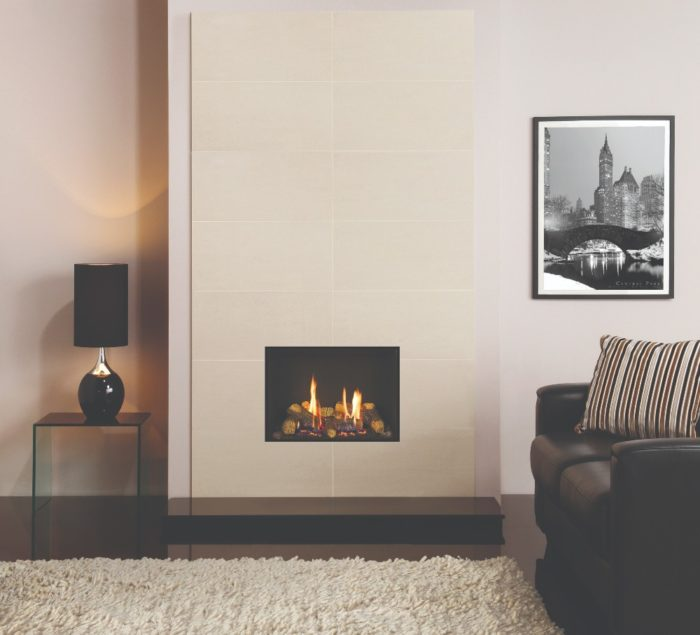 Stovax & Gazco Riva2 500 Edge gas fire with black reeded lining