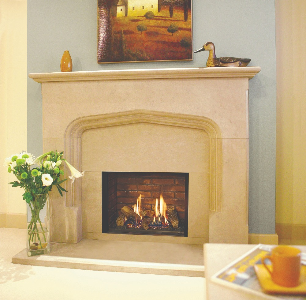 Stovax & Gazco Riva2 500 Edge gas fire with brick-effect lining