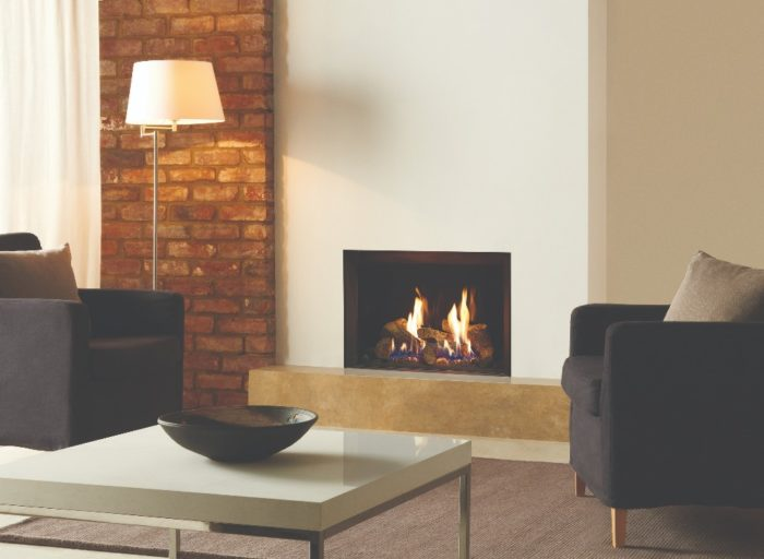 Stovax & Gazco Riva2 500 Edge gas fire with EchoFlame black glass lining