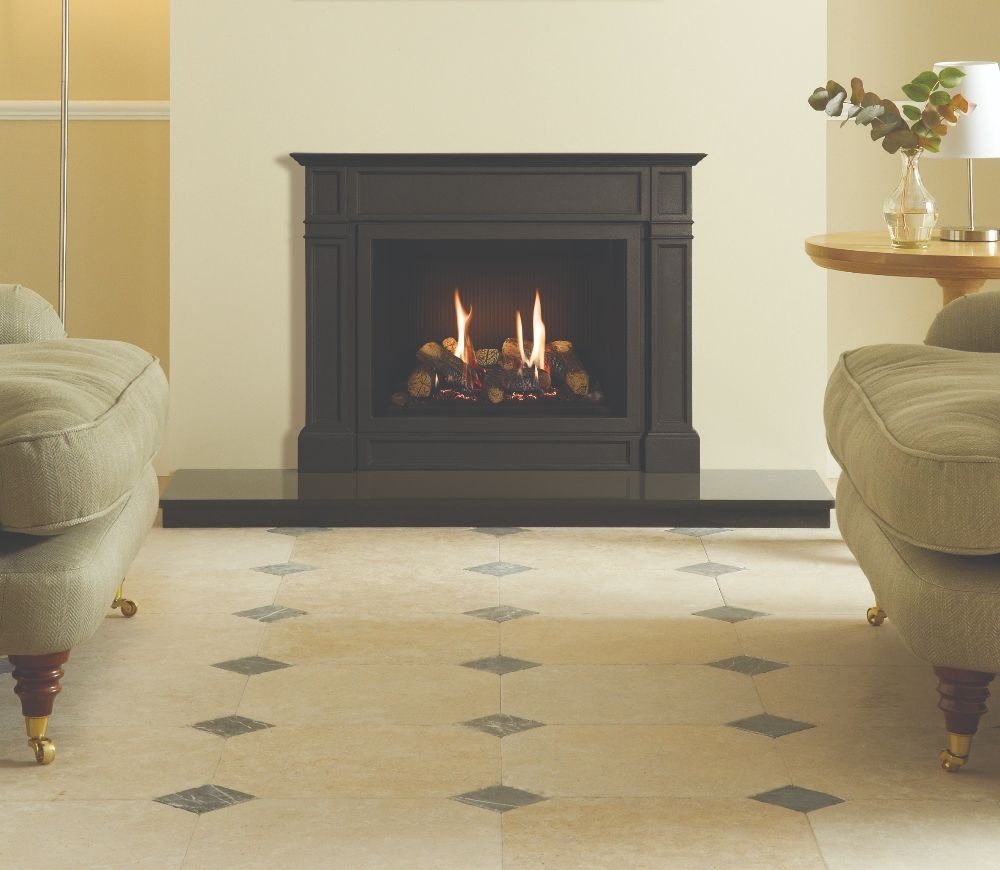 Stovax & Gazco Riva2 500 Ellingham gas fire with black reeded lining