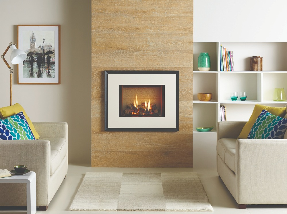 Stovax & Gazco Riva2 500 Evoke steel gas fire, ivory finish with vermiculite lining