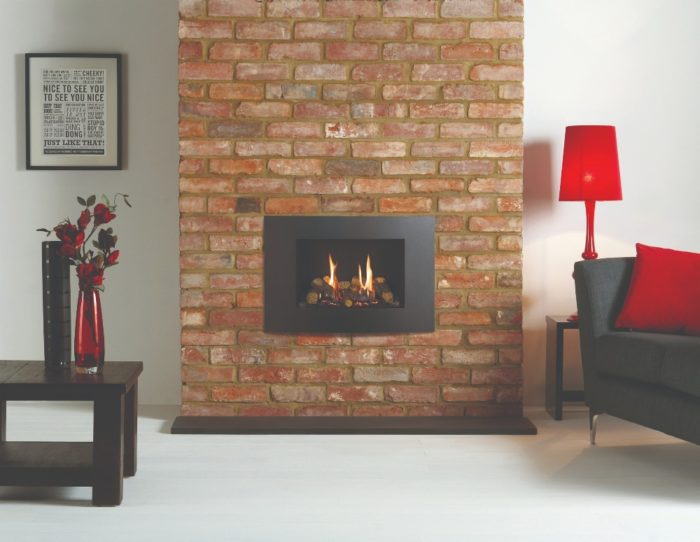 Stovax & Gazco Riva2 500 Verve XS gas fire, graphite finish with black reeded lining