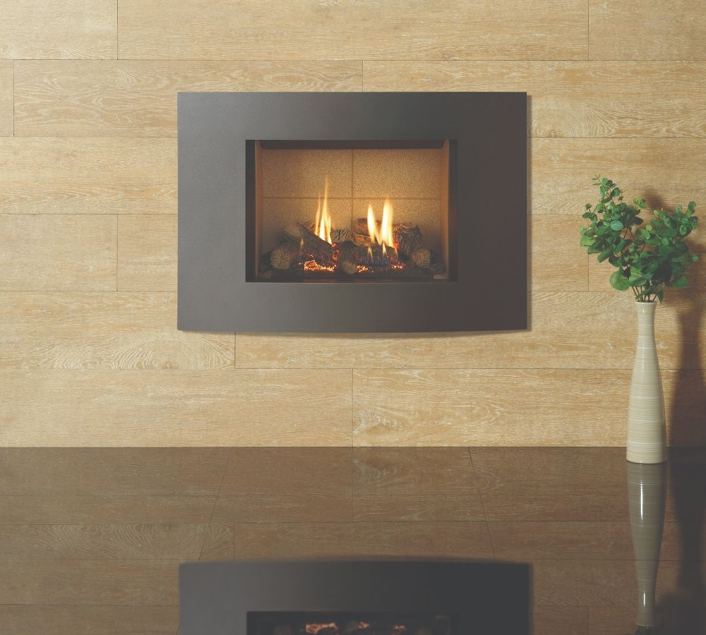 Stovax & Gazco Riva2 500 Verve XS gas fire, graphite finish with vermiculite lining