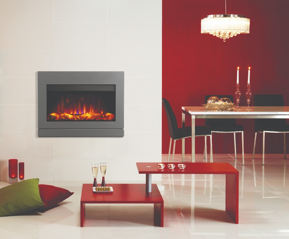 Stovax & Gazco Riva2 670 Designio2 steel electric fire with iridium finish