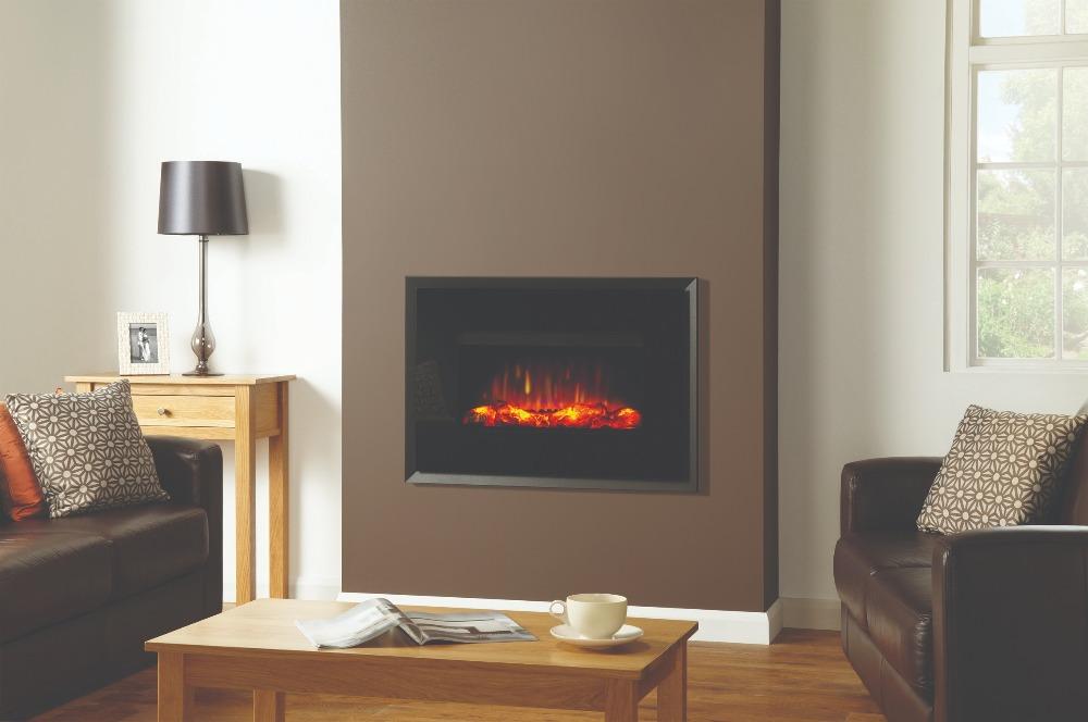 Stovax & Gazco Riva2 670 Evoke black glass electric fire with graphite rear