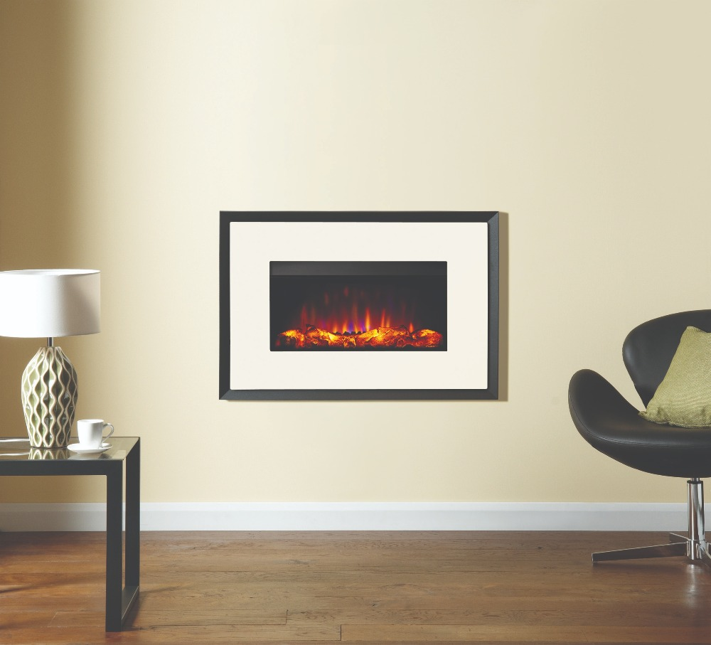 Stovax & Gazco Riva2 670 Evoke ivory steel electric fire with graphite rear