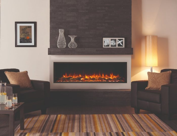 Stovax & Gazco Skope Inset 135R log & pebble fuel effect electric fire