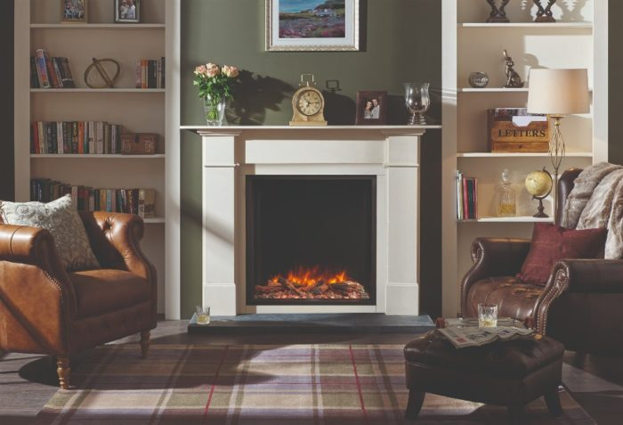 Stovax & Gazco Skope Inset 75R log & pebble fuel effect electric fire in Claremont mantel