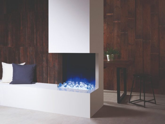 Stovax & Gazco Skope Outset 55W crystal ice fuel effect electric fire