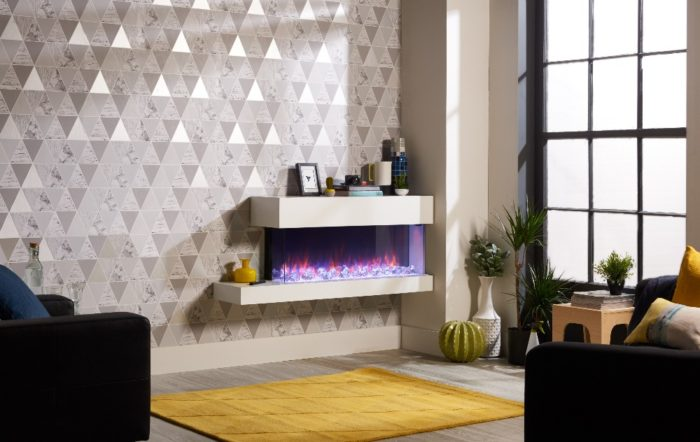 Stovax & Gazco Skope Trento Suites 110W right offset crystal ice fuel effect electric fire