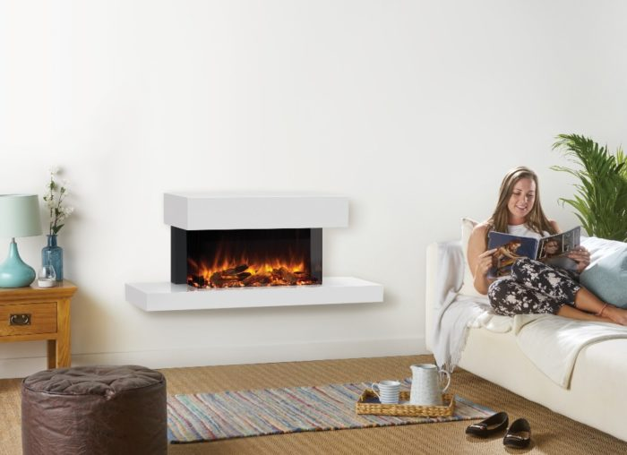 Stovax & Gazco Skope Trento Suites 70W centred log & pebble fuel effect electric fire