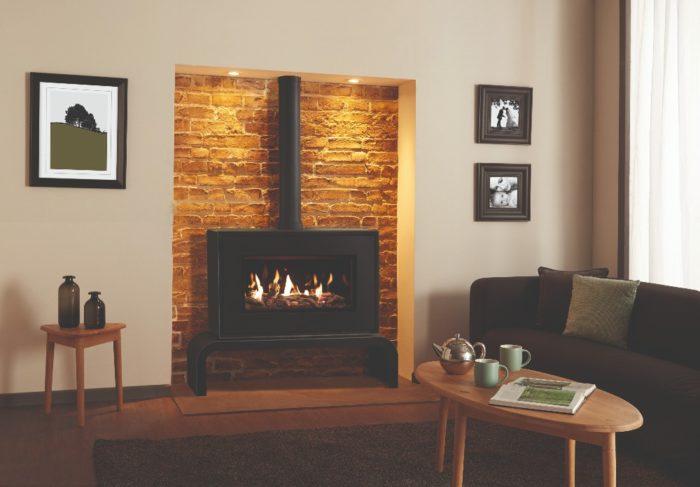 Stovax & Gazco Studio 1 freestanding gas fire, black finish, driftwood effect, black glass lining and matching bench