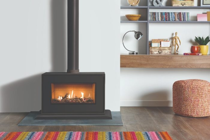 Stovax & Gazco Studio 1 freestanding gas fire, black finish, driftwood effect, vermiculite lining and plinth