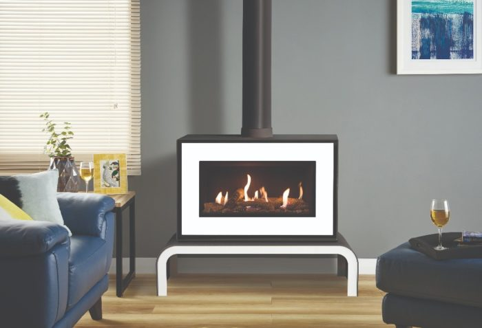 Stovax & Gazco Studio 1 freestanding gas fire, white finish, log effect, black reeded lining and matching bench
