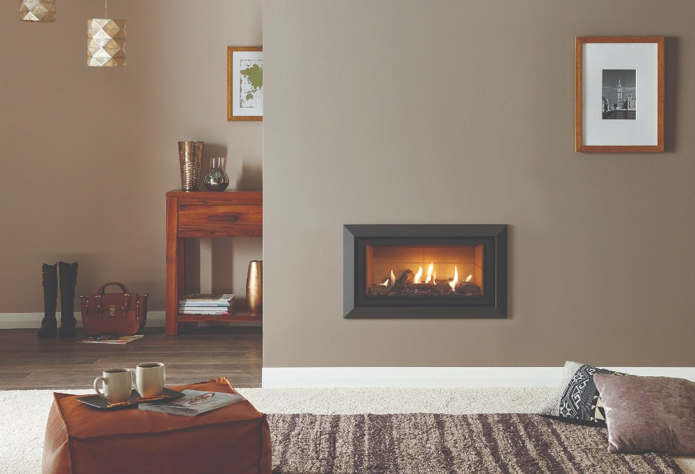 Stovax & Gazco Studio 1 gas fire with Bauhaus frame, anthracite finish, log effect and vermiculite lining
