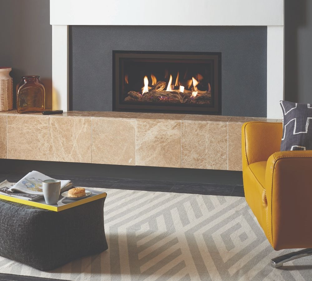 Stovax & Gazco Studio 1 gas fire Edge frame, driftwood effect and black glass lining