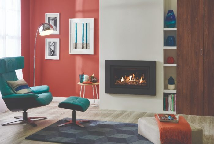 Stovax & Gazco Studio 1 gas fire Expression frame, driftwood effect and black glass lining