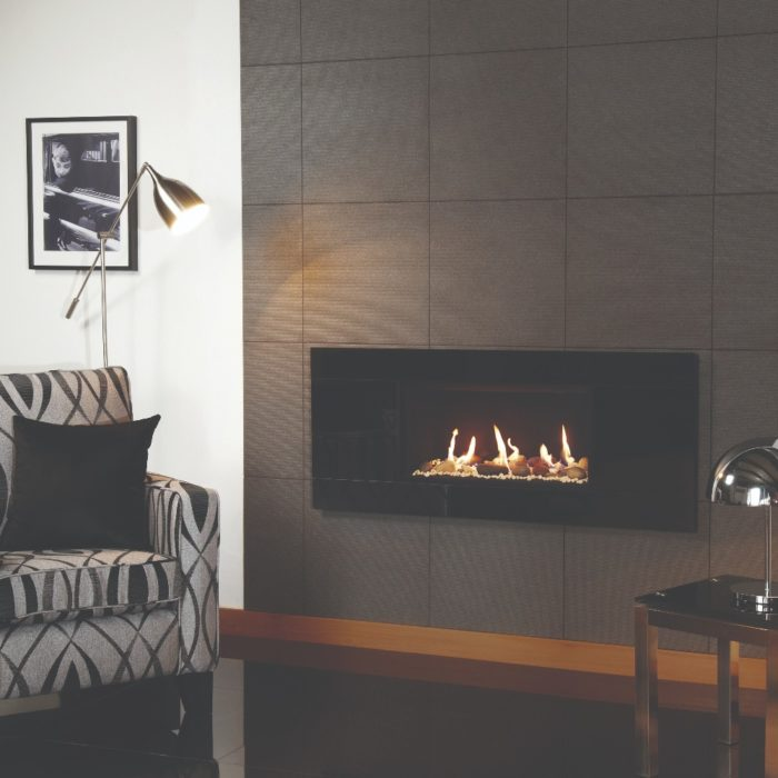Stovax & Gazco Studio 1 gas fire Glass frame, white stone effect and black reeded lining