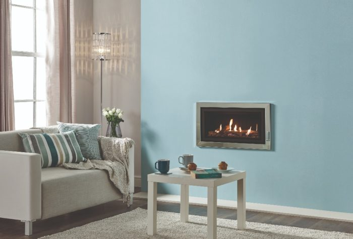 Stovax & Gazco Studio 1 gas fire Profil frame, polished stainless steel finish, log effect and black reeded lining