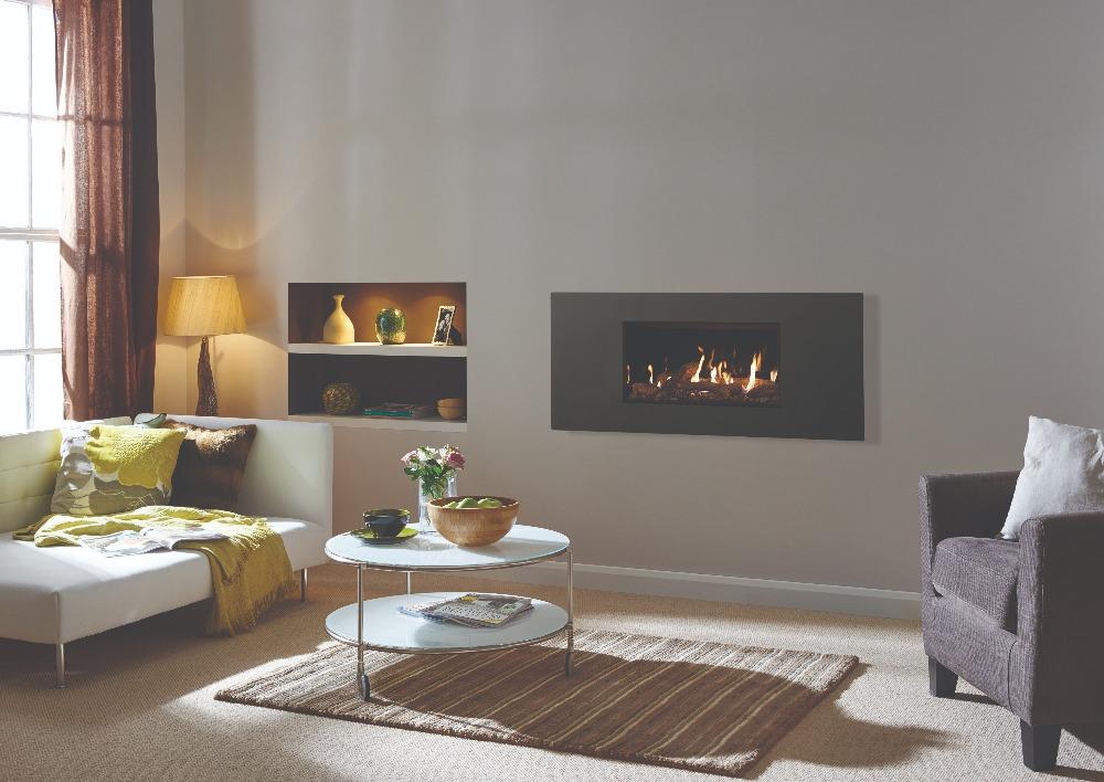 Stovax & Gazco Studio 1 gas fire Steel 2 frame, graphite finish, log effect and black glass lining
