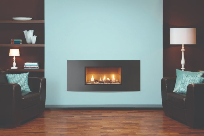 Stovax & Gazco Studio 1 gas fire Verve frame, pebble and stone effect and vermiculite lining
