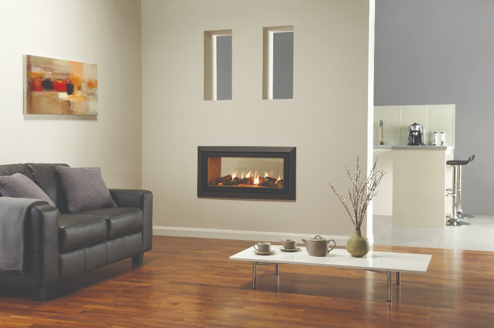 Stovax & Gazco Studio 2 gas fire Duplex double sided, Bauhaus frame, anthracite finish and vermiculite lining