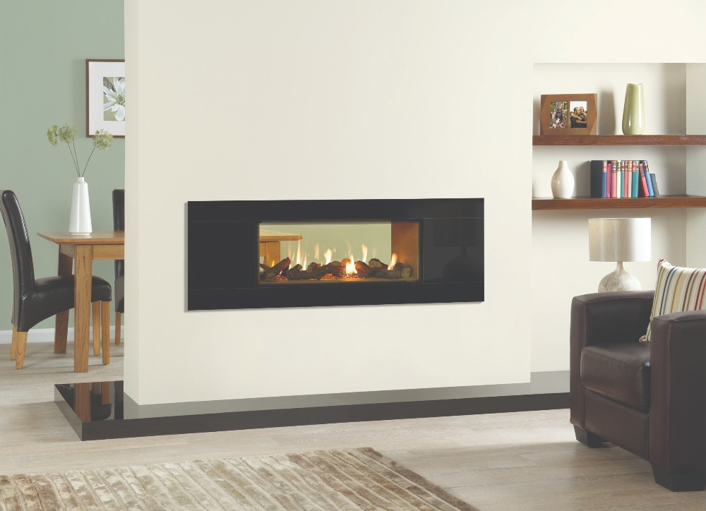 Stovax & Gazco Studio 2 gas fire Duplex double sided, Glass frame and vermiculite lining