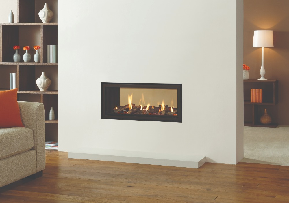 Stovax & Gazco Studio 2 gas fire Duplex double sided, Edge frame and black reeded lining