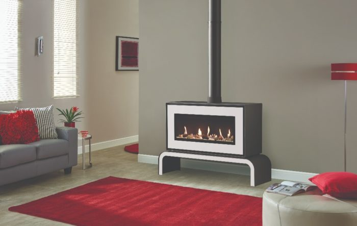 Stovax & Gazco Studio 2 freestanding gas fire, white finish, pebbles and stones effect, black reeded lining and matching bench