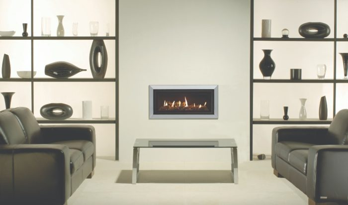 Stovax & Gazco Studio 2 gas fire with Bauhaus frame, polished stainless steel finish, log-effect and black reeded lining