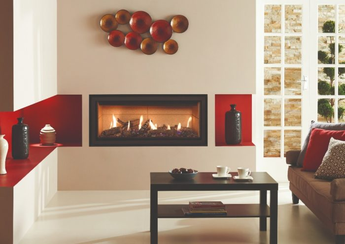 Stovax & Gazco Studio 2 gas fire Edge frame, log effect and vermiculite lining