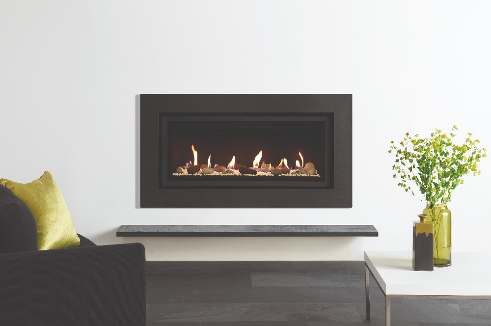 Stovax & Gazco Studio 2 gas fire Expression frame, pebbles and stones effect and black reeded lining