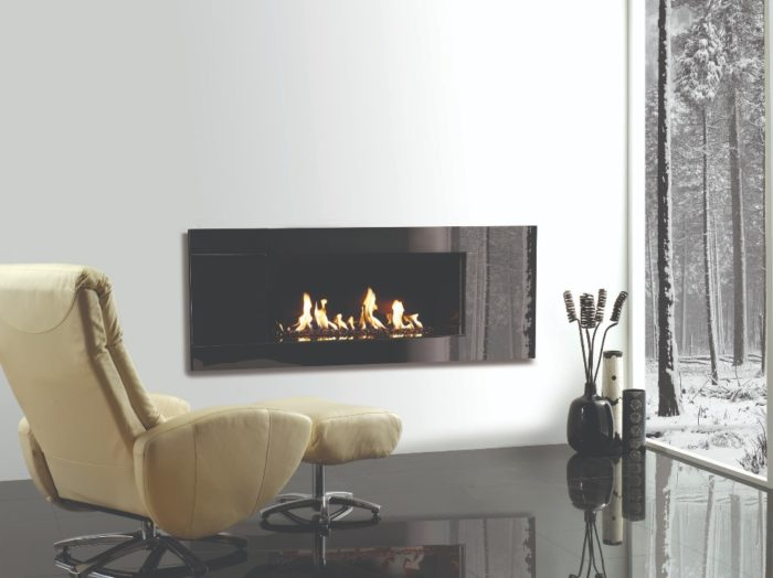 Stovax & Gazco Studio 2 gas fire Glass frame and black glass bead effect