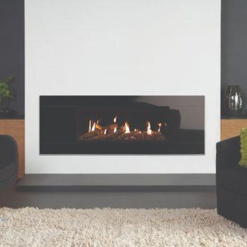 Stovax & Gazco Studio 2 gas fire Glass frame, log effect and black glass lining