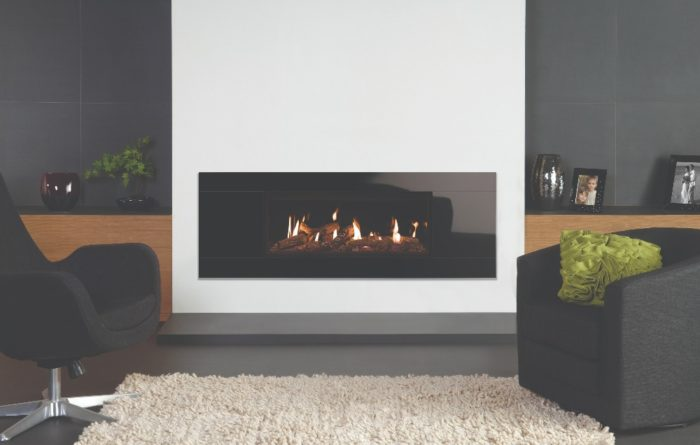 Stovax & Gazco Studio 2 gas fire Glass frame, log effect and black glass lining