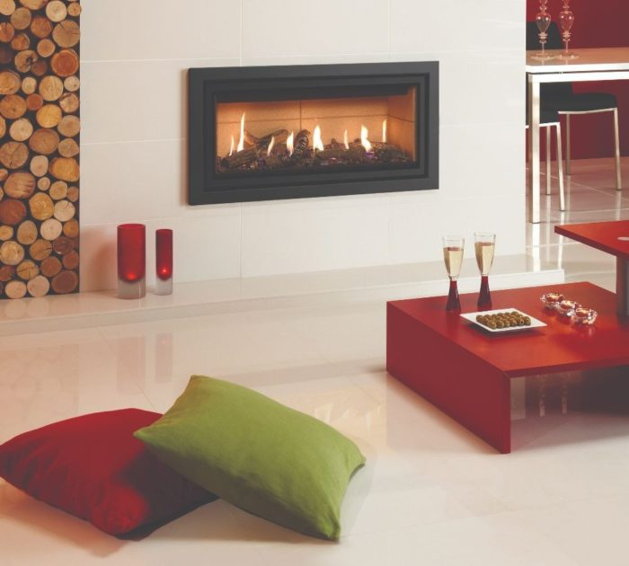 Stovax & Gazco Studio 2 gas fire Profil frame, anthracite finish, log-effect and vermiculite lining