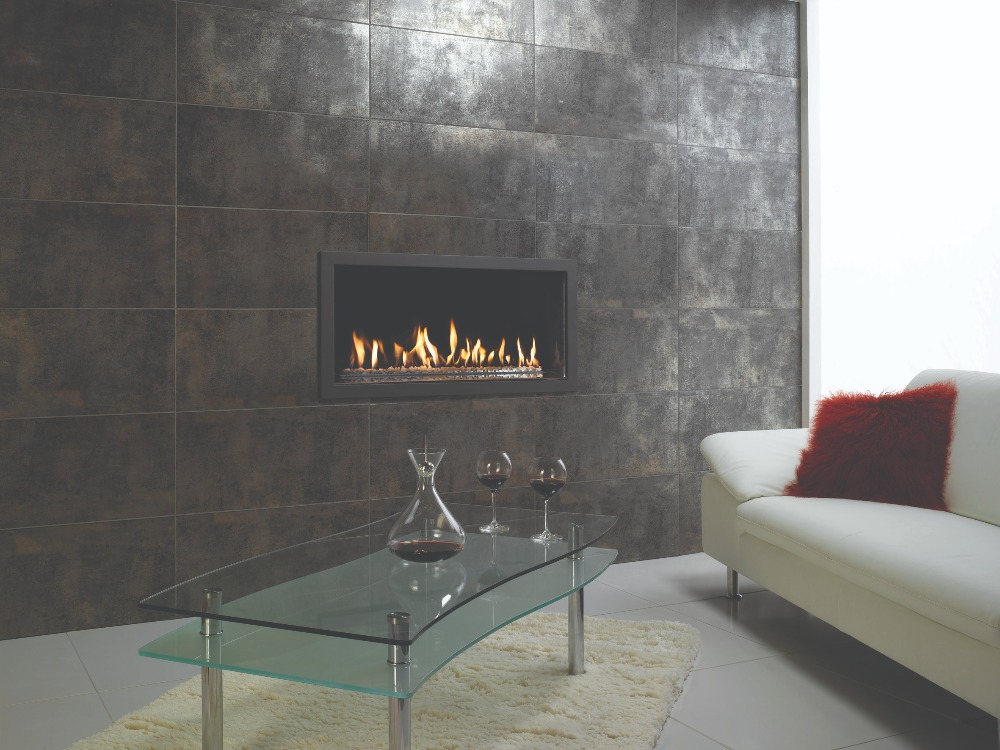Stovax & Gazco Studio 2 gas fire Profil frame, anthracite finish, white stone effect and black glass lining