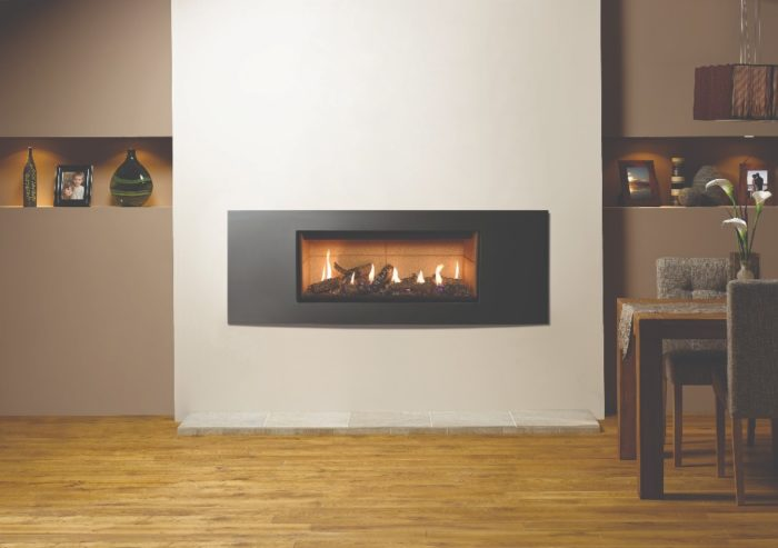 Stovax & Gazco Studio 2 gas fire Verve frame, log effect and vermiculite lining