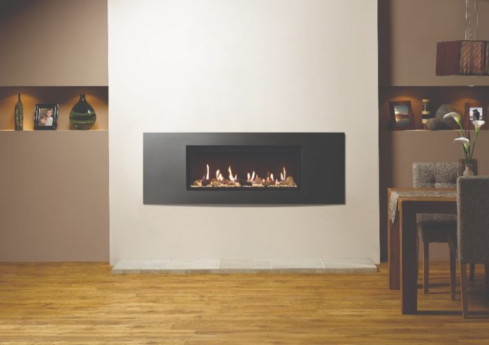Stovax & Gazco Studio 2 gas fire Verve frame, pebble and stone effect and black reeded lining