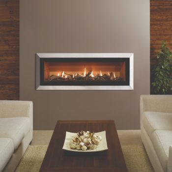 Stovax & Gazco Studio 3 gas fire with Bauhaus frame, polished stainless steel finish, driftwood effect and vermiculite lining