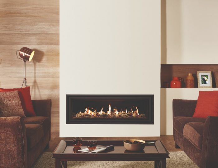 Stovax & Gazco Studio 3 gas fire Edge+ frame, driftwood effect and black glass lining