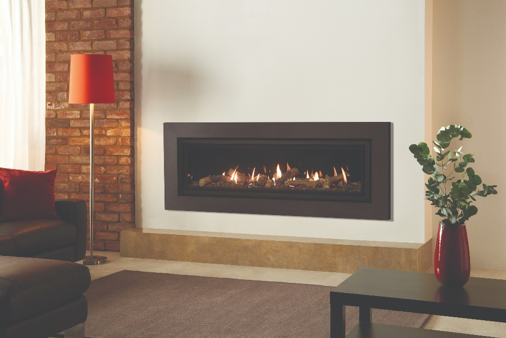 Stovax & Gazco Studio 3 gas fire Expression frame, log effect and black glass lining