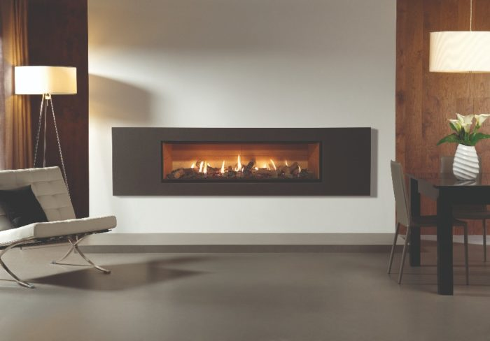 Stovax & Gazco Studio 3 gas fire Steel 2 frame, graphite finish, log effect and vermiculite lining