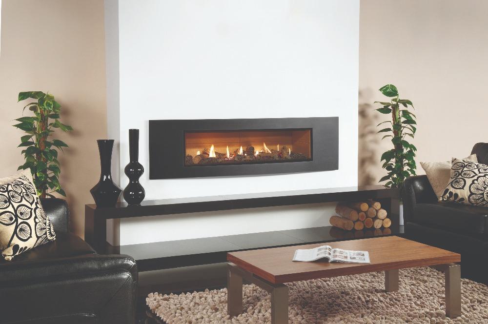 Stovax & Gazco Studio 3 gas fire Verve frame, log effect and vermiculite lining
