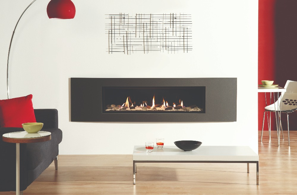 Stovax & Gazco Studio 3 gas fire Verve frame, pebble and stone effect and black glass lining