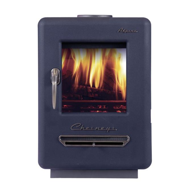 Chesneys Alpine 4 series wood burning stove Atlantic Blue