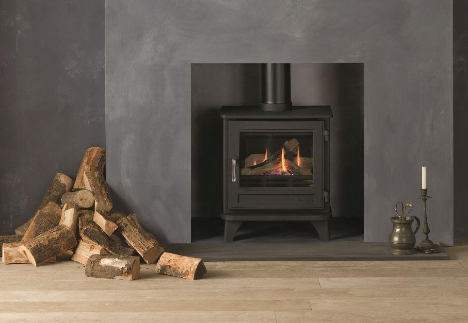 Chesneys Salisbury standard gas stove with a matt black finish