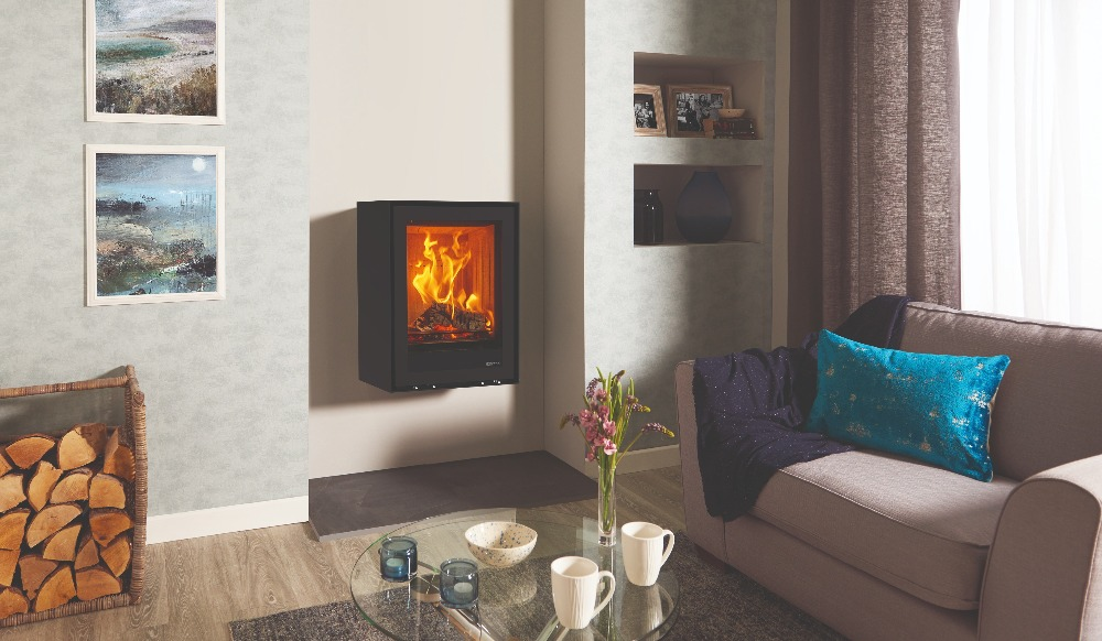 Stovax & Gazco Elise Freestanding 540T wood burning stove wall hung