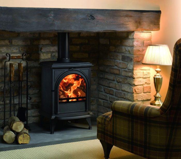 Stovax & Gazco Huntingdon 28 wood burning stove in matt black with clear door