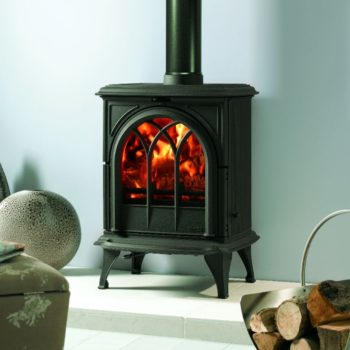 Stovax & Gazco Huntingdon 28 wood burning stove in matt black with tracery door